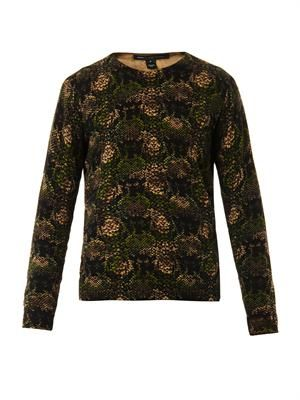 Max snake-print cotton-knit sweater