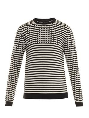 Zigzag and striped wool sweater