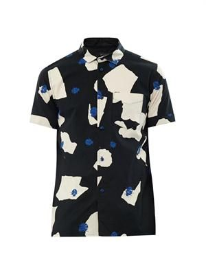 Ladybird-print cotton shirt