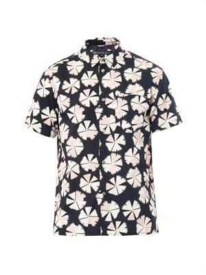 Pin wheel-print cotton shirt