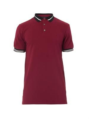Striped-trim polo shirt