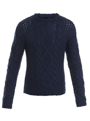 Hand-knit pattern wool jumper