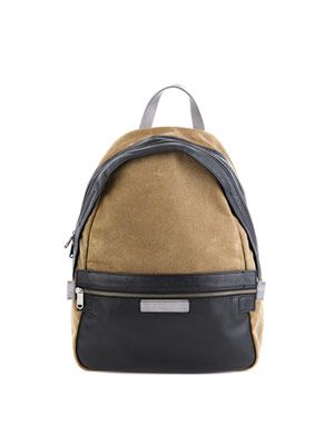 Cotton and leather backpack