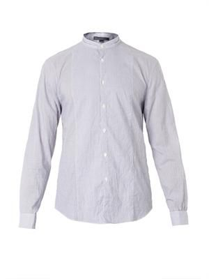 Collarless striped cotton shirt
