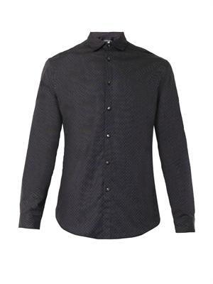 Pinstripe and polka-dot shirt