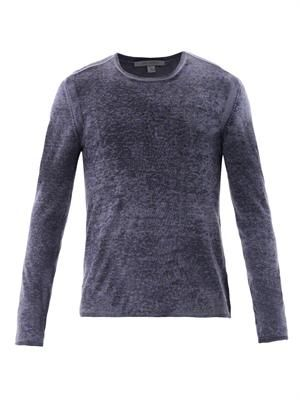 Silk-cashmere fine knit sweater