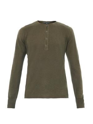 Crew-neck henley sweater