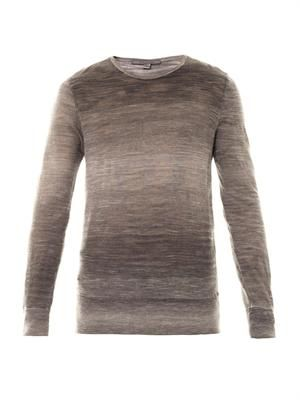 Crew-neck ombré-knit sweater