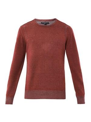 Crew-neck cotton-linen sweater