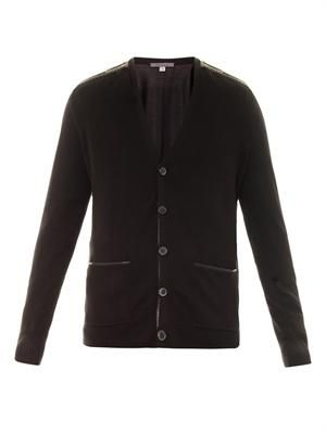 Leather trim silk-knit cardigan