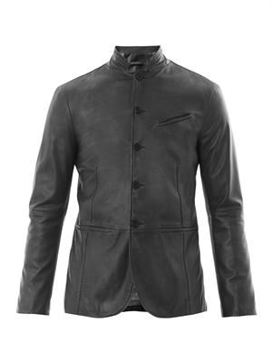 Button front leather jacket