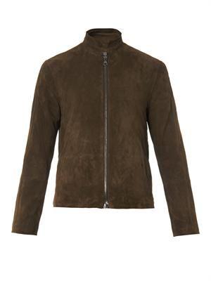 Structured-collar suede jacket