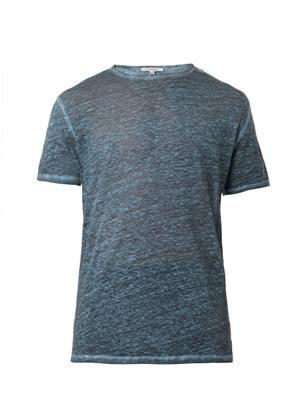 Crew-neck linen-jersey T-shirt