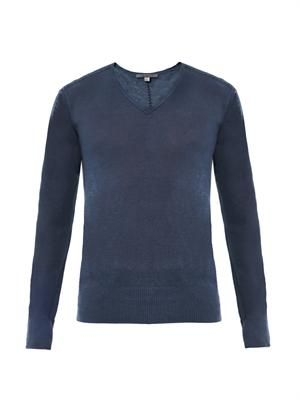 V-neck linen-silk sweater