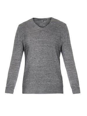 V-neck linen and cotton-blend sweater