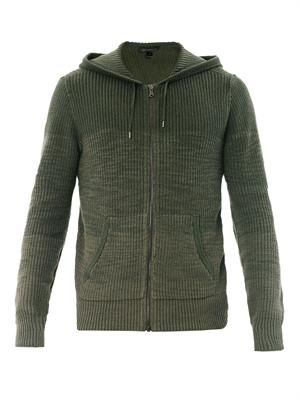 Ribbed knit hooded sweatshirt