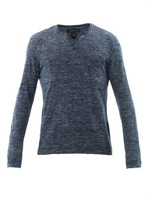 Linen-mix Henley sweater