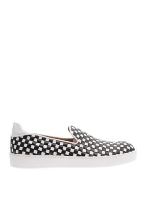 Woven leather slip-on trainers