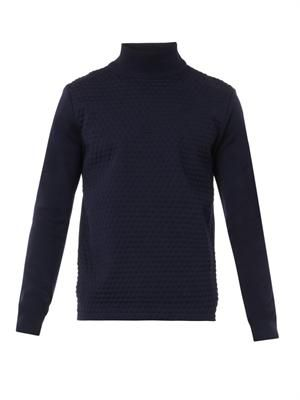 Dot-embossed wool sweater