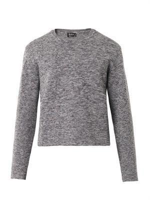 Melange wool-knit sweater