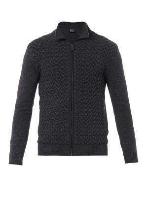 Textured knit wool-blend cardigan