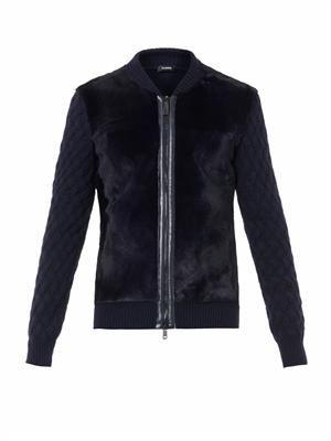 Fur-panel wool-blend cardigan
