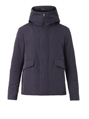 Hooded technical coat