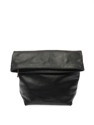 Fold-over leather pouch