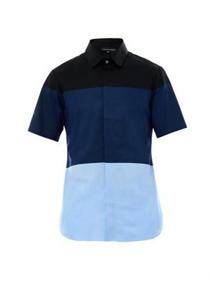 Tony colour-block cotton shirt