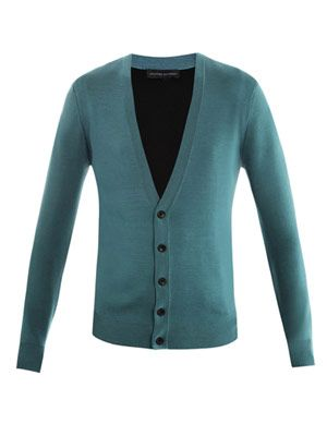 Ponte-knit contrast-back cardigan
