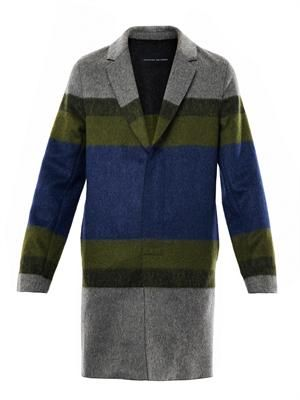 Lamorna stripe wool coat