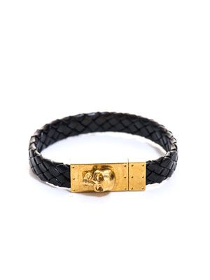 Skull and woven leather cuff