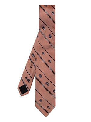 Stripe and skull-print tie