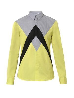 Peak colour-block cotton shirt