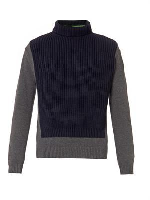 Colour-block roll-neck sweater