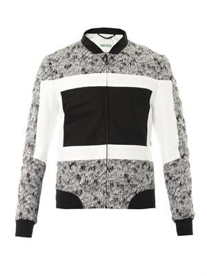 Scribbles colour-block bomber jacket