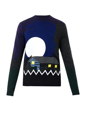 Landscape-intarsia wool-blend sweater