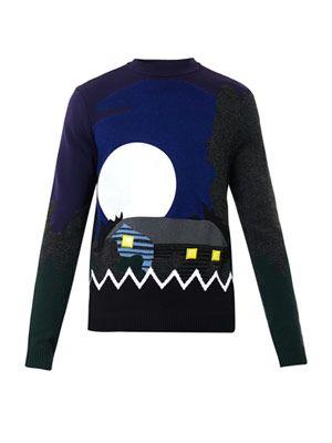 Landscape-intarsia wool-blend sweater
