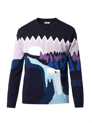Landscape intarsia-knit sweater