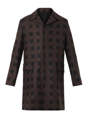 Square-print wool-blend coat