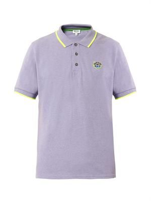 Tiger-patch polo shirt