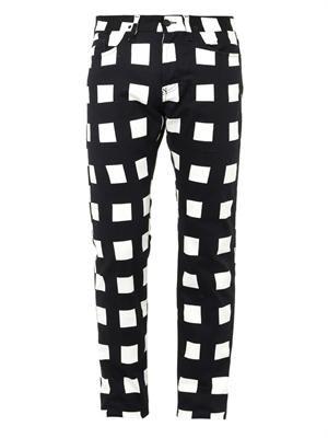 Square-print skinny jeans