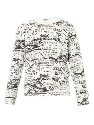 Scribble-print crew-neck sweatshirt