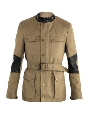 Peter Lee compact-cotton and leather coat