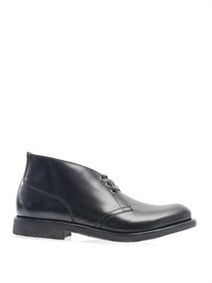 Crepe-sole leather derby boots