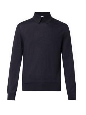 Point-collar wool sweater