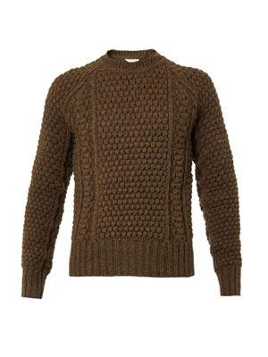 Honeycomb-knit wool sweater