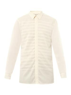 Striped-front cotton-poplin shirt