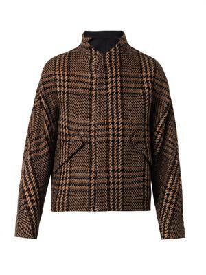 Prince of Wales kimono-sleeve coat