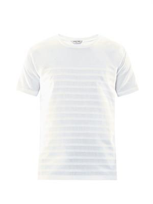 Pintuck-stripe cotton T-shirt